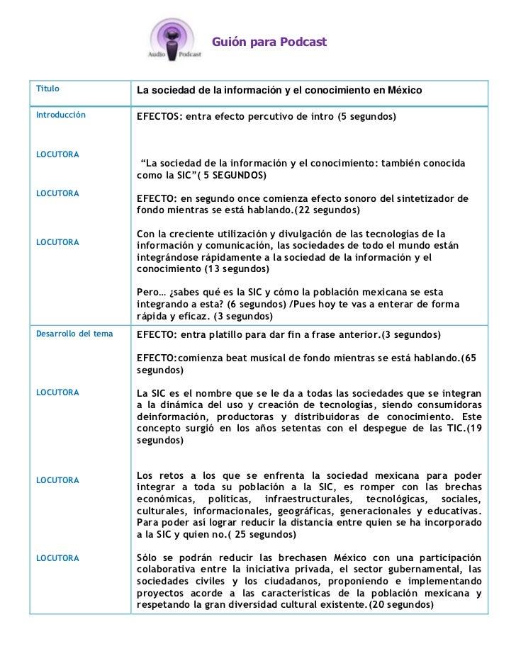 Guión para PodcastTítulo                La sociedad de la información y el conocimiento en MéxicoIntroducción          EFE...