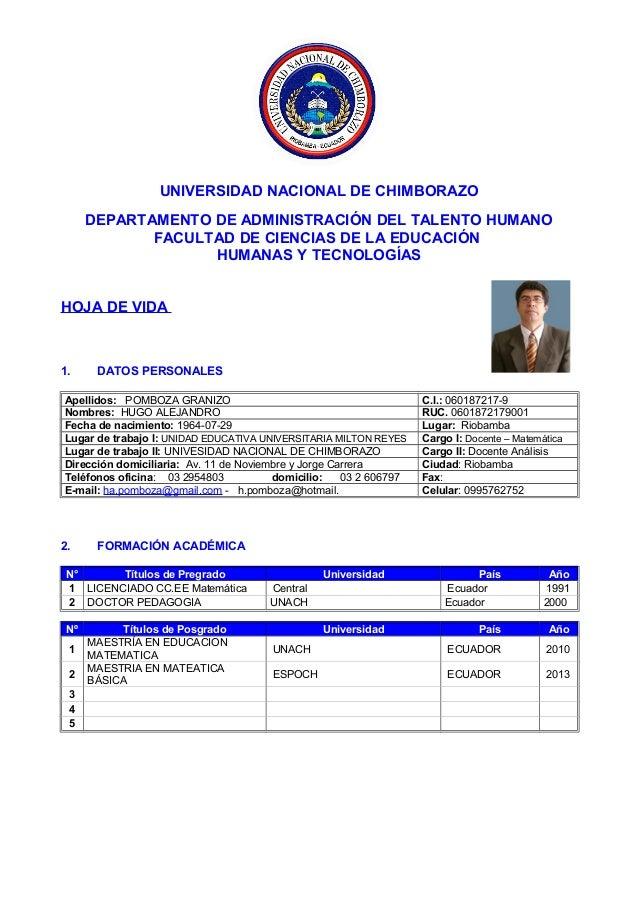UNIVERSIDAD NACIONAL DE CHIMBORAZO DEPARTAMENTO DE ADMINISTRACIÓN DEL TALENTO HUMANO FACULTAD DE CIENCIAS DE LA EDUCACIÓN ...