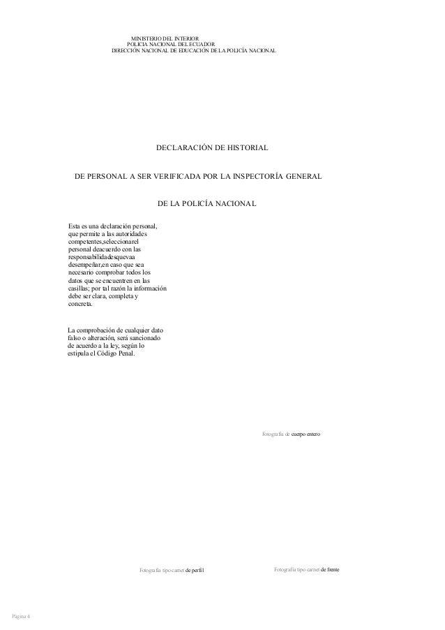 Formato Del Mdi Ministerio Del Interior Ecuador