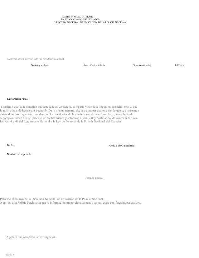 Formato del mdi ministerio del interior ecuador for Ministerio de interior telefono