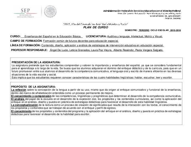 PLAN DE CURSO SEMESTRE: TERCERO CICLO ESCOLAR 2015-2016 CURSO: Enseñanza del Español en la Educación Básica. LICENCIATURA:...