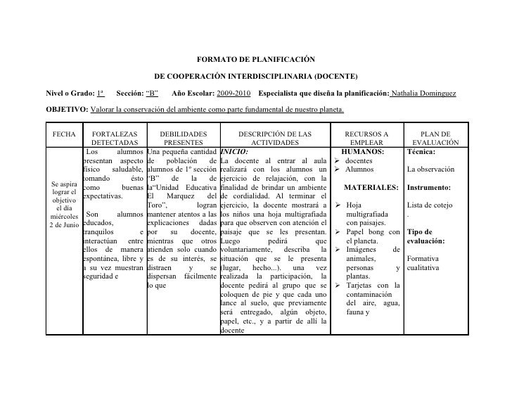 FORMATO DE PLANIFICACIÓN                                     DE COOPERACIÓN INTERDISCIPLINARIA (DOCENTE)  Nivel o Grado: 1...