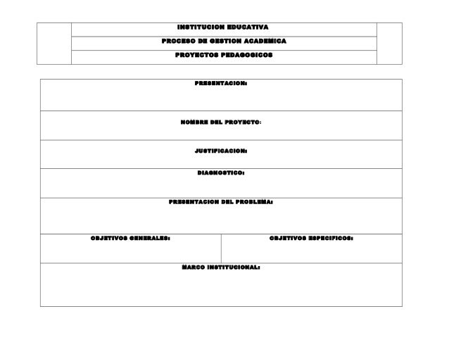 INSTITUCION EDUCATIVA  PROCESO DE GESTION ACADEMICA  PROYECTOS PEDAGOGICOS  PRESENTACION:  NOMBRE DEL PROYECTO:  JUSTIFICA...