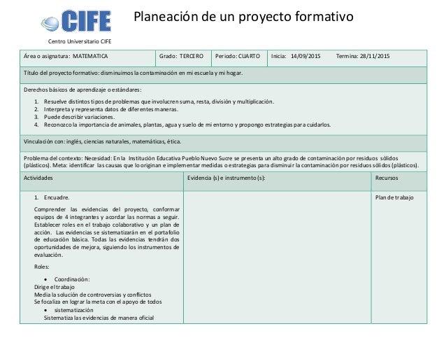 Centro Universitario CIFE Área o asignatura: MATEMATICA Grado: TERCERO Periodo: CUARTO Inicia: 14/09/2015 Termina: 28/11/2...