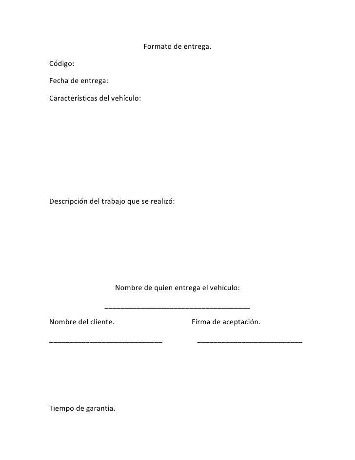 Formato de recepción del vehículo