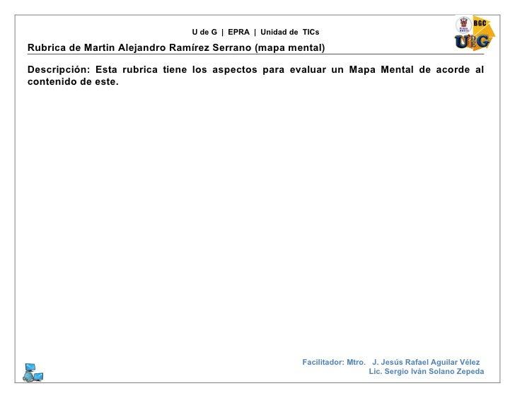 U de G | EPRA | Unidad de TICs  Rubrica de Martin Alejandro Ramírez Serrano (mapa mental)  Descripción: Esta rubrica tiene...