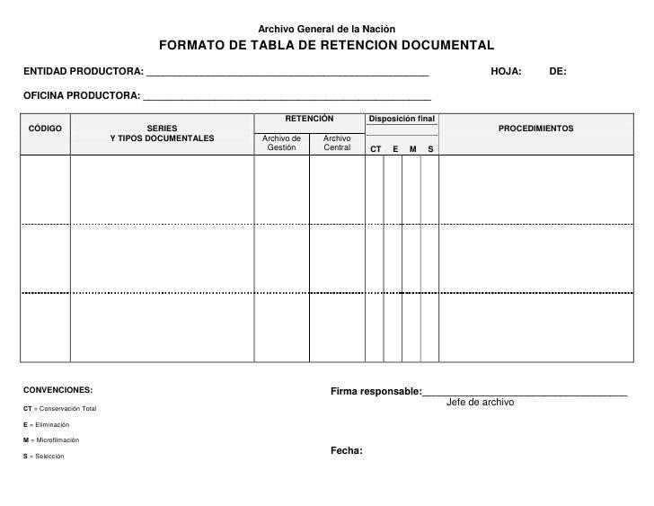 Archivo General de la Nación                                   FORMATO DE TABLA DE RETENCION DOCUMENTALENTIDAD PRODUCTORA:...