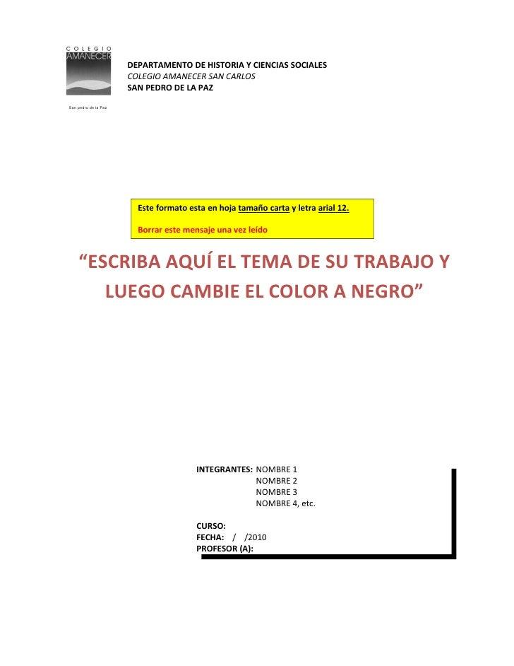 DEPARTAMENTO DE HISTORIA Y CIENCIAS SOCIALES                       COLEGIO AMANECER SAN CARLOS                       SAN P...