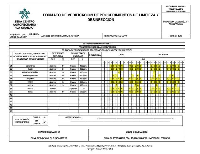 Formato de verificacion programa l d panificacion for Limpieza y desinfeccion de equipos