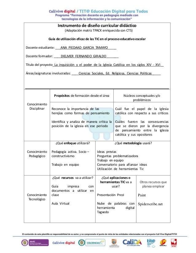 Instrumento de diseño curricular didáctico  (Adaptación matriz TPACK enriquecida con CTS)  Guía de utilización eficaz de l...