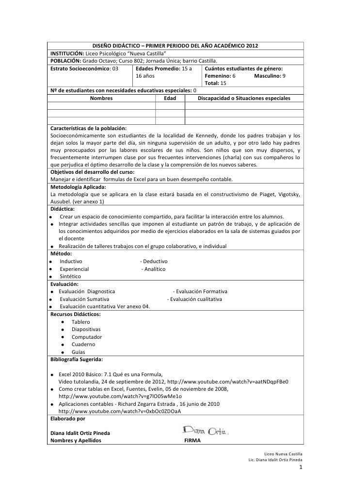 """DISEÑO DIDÁCTICO – PRIMER PERIODO DEL AÑO ACADÉMICO 2012INSTITUCIÓN: Liceo Psicológico """"Nueva Castilla""""POBLACIÓN: Grado Oc..."""