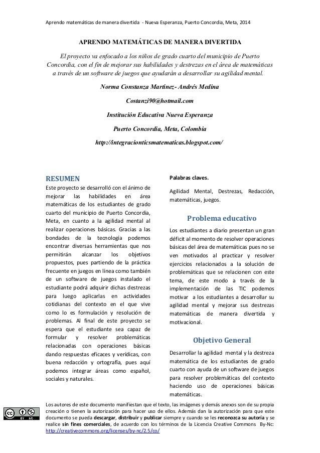 Aprendo matemáticas de manera divertida - Nueva Esperanza, Puerto Concordia, Meta, 2014  APRENDO MATEMÁTICAS DE MANERA DIV...