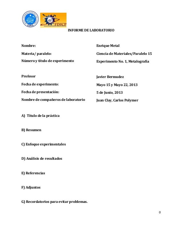 Formato e instructivo del informe de laboratorio