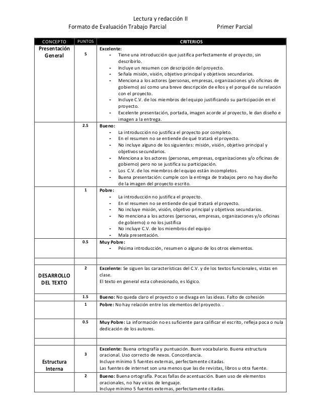 Lectura y redacción II Formato de Evaluación Trabajo Parcial Primer Parcial CONCEPTO PUNTOS CRITERIOS Presentación General...