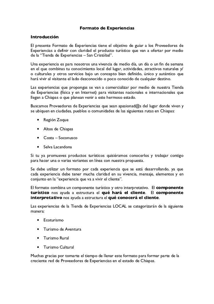 Formato de ExperienciasIntroducciónEl presente Formato de Experiencias tiene el objetivo de guiar a los Proveedores deExpe...