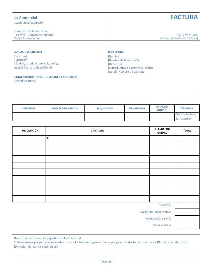 Formato factura