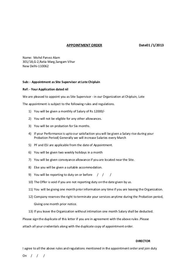 Of appointment order format of appointment order spiritdancerdesigns