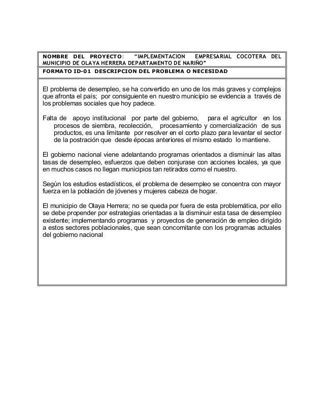 """NOMBRE DEL PROYECTO:         """"IMPLEMENTACION   EMPRESARIAL COCOTERA DELMUNICIPIO DE OLAYA HERRERA DEPARTAMENTO DE NARIÑO""""F..."""
