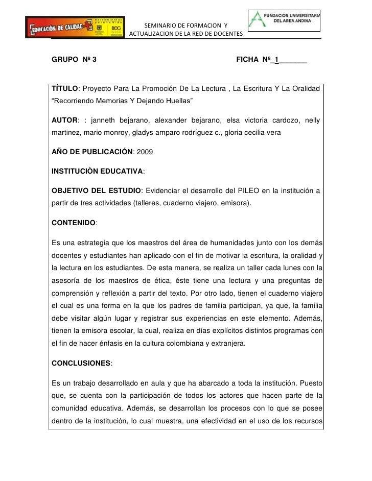 GRUPO  Nº 3                                                                     FICHA  Nº_1_______<br />TÍTULO: Proyecto P...