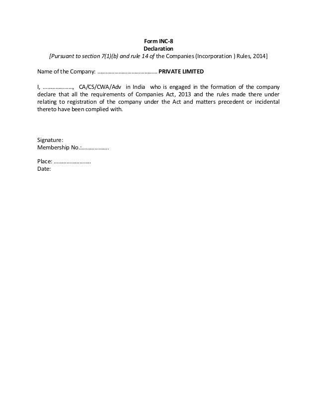 Format/Form of inc 8,9,10 & Dir-2 as per company act 2013