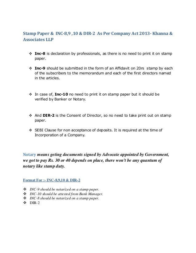 Formats For Company Incorporations Inc 8 Inc 9 Inc 10