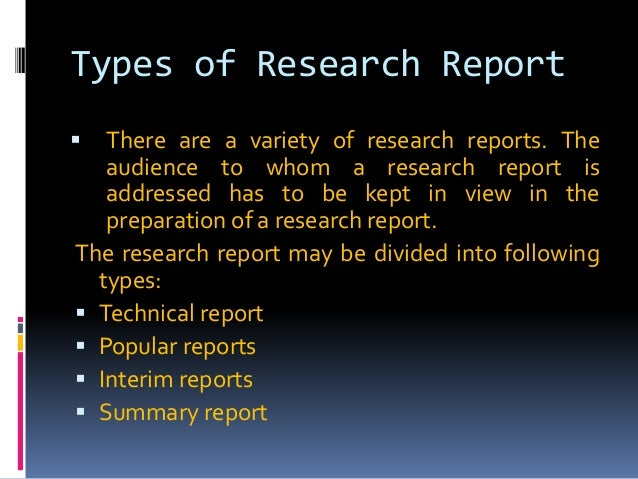types of reports in research methodology pdf
