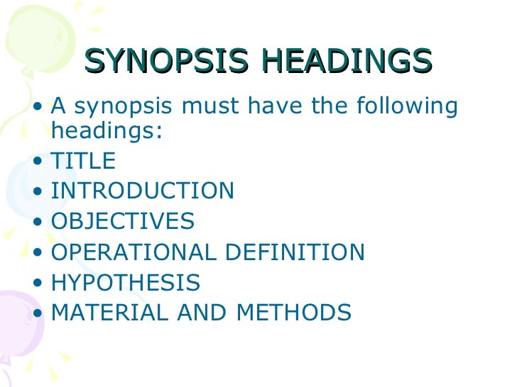 synopsis structure industrial thesis