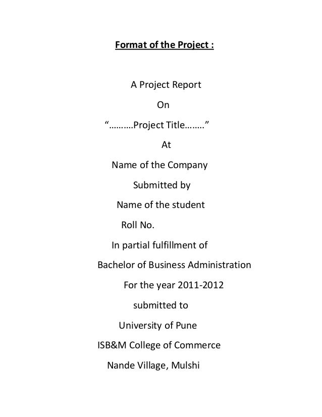 """Format of the Project :       A Project Report                On """"……….Project Title……..""""                At   Name of the C..."""