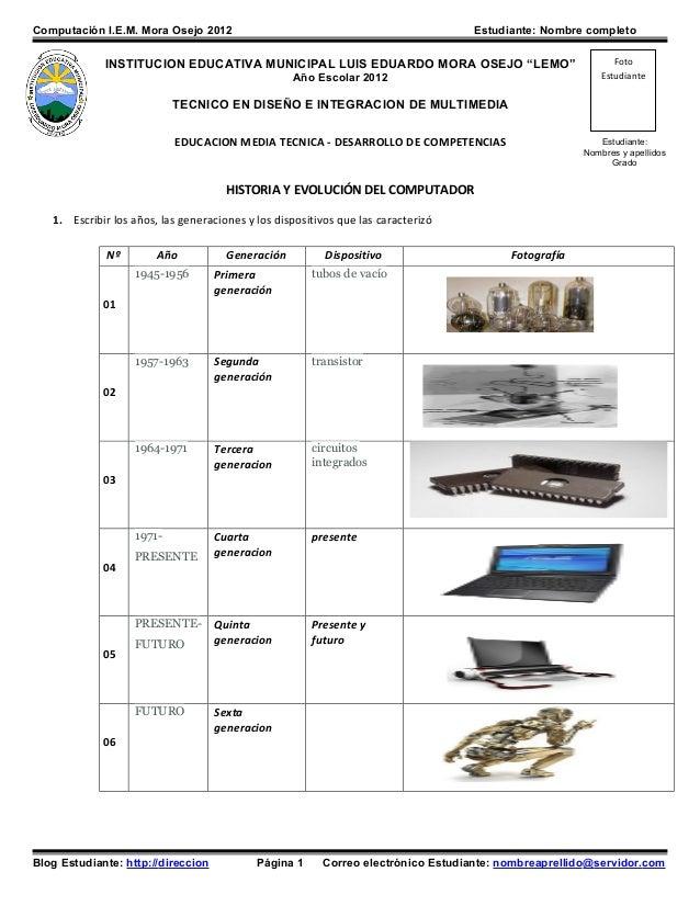 Computación I.E.M. Mora Osejo 2012                                                 Estudiante: Nombre completo            ...