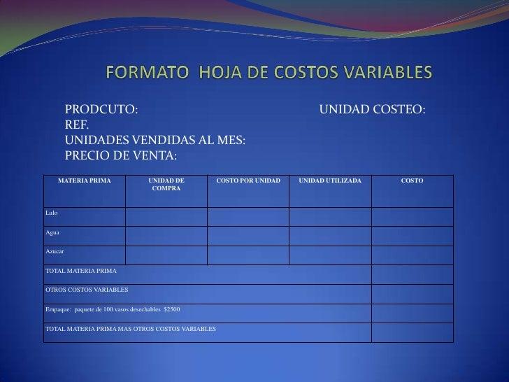 FORMATO  HOJA DE COSTOS VARIABLES<br />PRODCUTO:UNIDAD COSTEO:<br />REF.<br />UNIDADES VENDIDAS AL MES:<br />PREC...