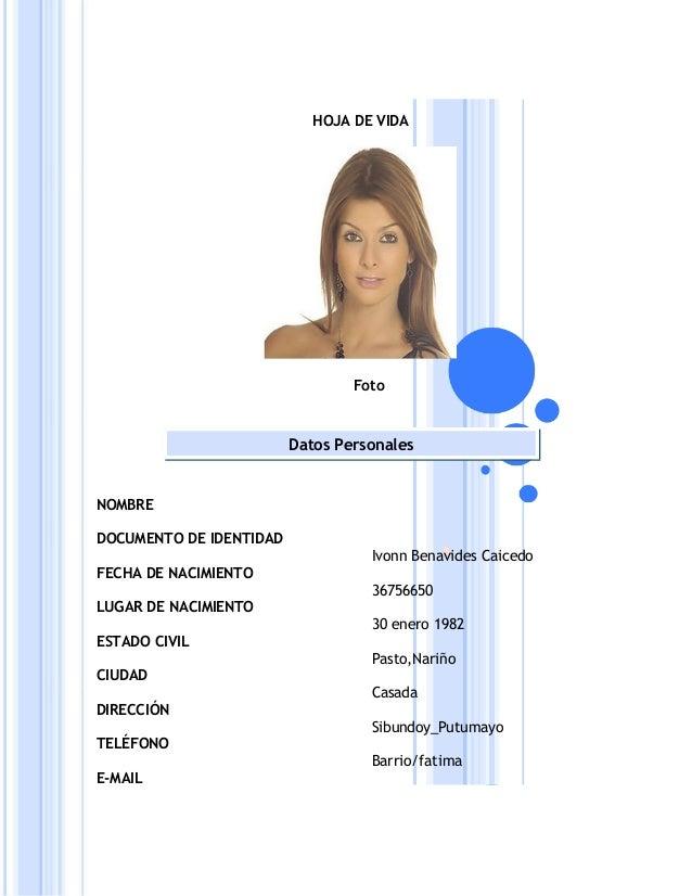 HOJA DE VIDA                                 Foto                         Datos PersonalesNOMBREDOCUMENTO DE IDENTIDAD    ...