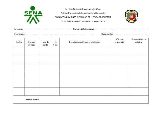 Servicio Nacional de Aprendizaje SENA Colegio Nacionalizado Femenino de Villavicencio PLAN DE SEGUIMIENTO Y EVALUACIÓN – E...