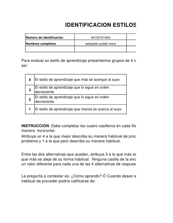 IDENTIFICACION ESTILOS DE APRENDI    Número de identificación                94103101403           Programa de formación  ...