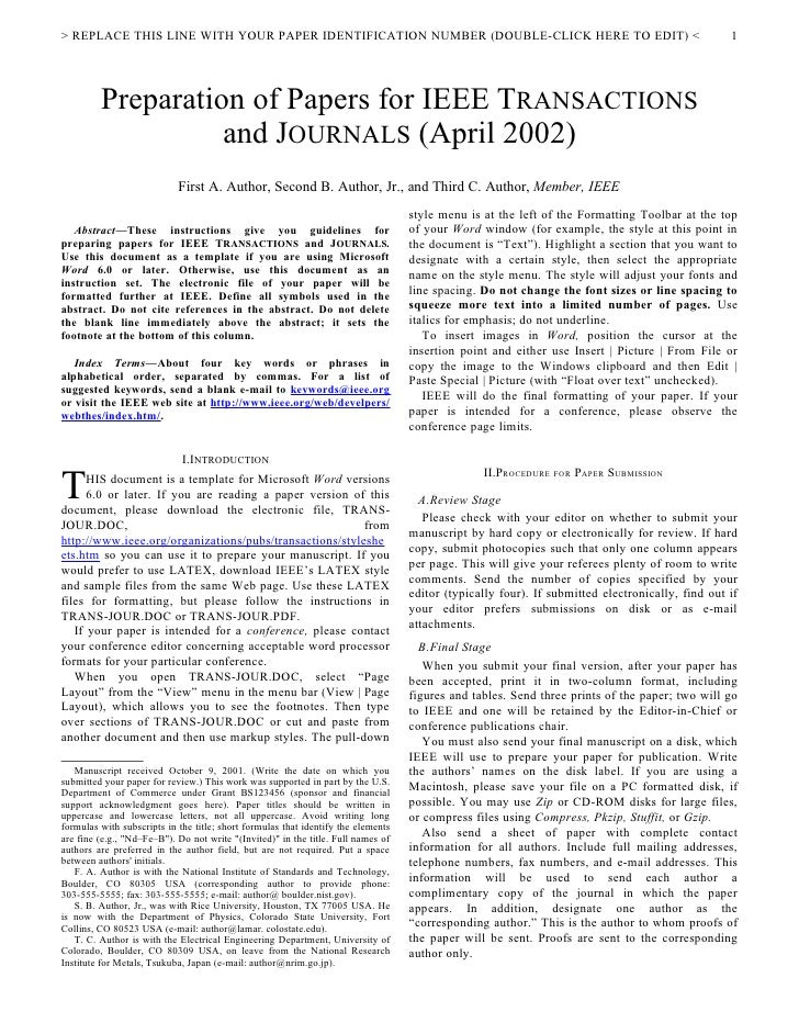 One-column IEEE journal article