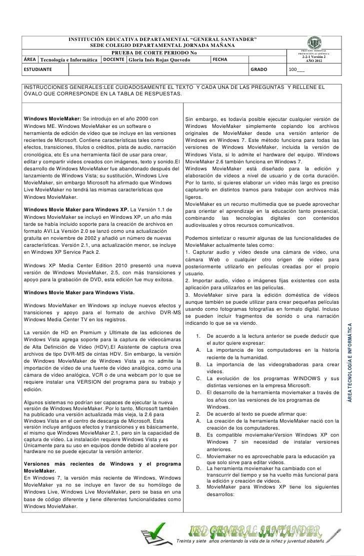 """INSTITUCIÓN EDUCATIVA DEPARTAMENTAL """"GENERAL SANTANDER""""                          SEDE COLEGIO DEPARTAMENTAL JORNADA MAÑANA..."""