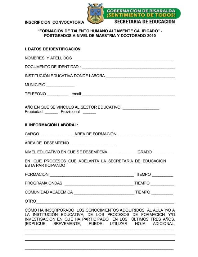 """INSCRIPCION CONVOCATORIA """"FORMACION DE TALENTO HUMANO ALTAMENTE CALIFICADO"""" - POSTGRADOS A NIVEL DE MAESTRIA Y DOCTORADO 2..."""