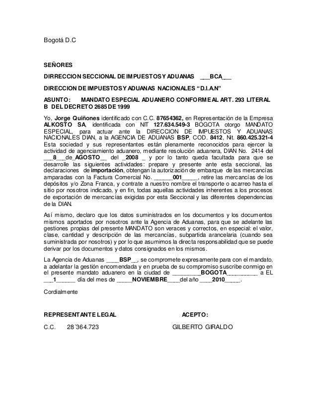 """Bogotá D.C SEÑORES DIRRECCION SECCIONAL DE IMPUESTOSY ADUANAS ___BCA___ DIRECCION DE IMPUESTOSY ADUANAS NACIONALES """"D.I.A...."""