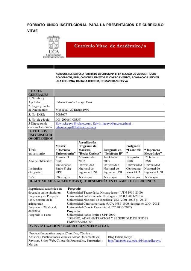 Formato único institucional para la presentació n de currículo_vitae