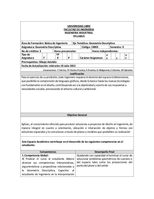 UNIVERSIDAD LIBRE FACULTAD DE INGENIERIA INGENIERIA INDUSTRIAL SYLLABUS Área de Formación: Básica de Ingeniería Eje Temáti...
