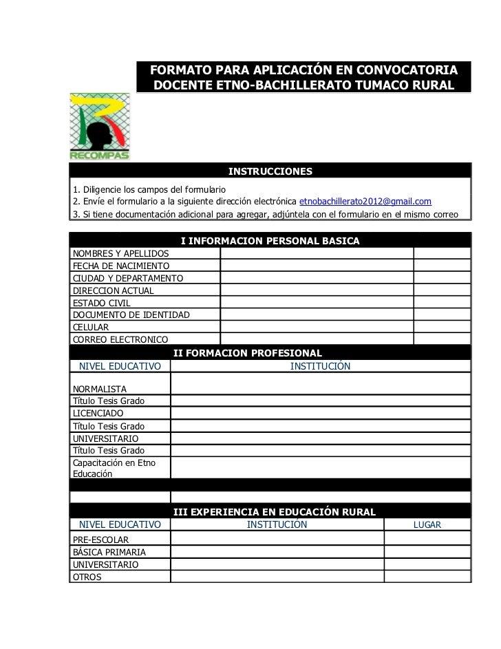 Formato para aplicaci n en convocatoria docente for Convocatoria docente