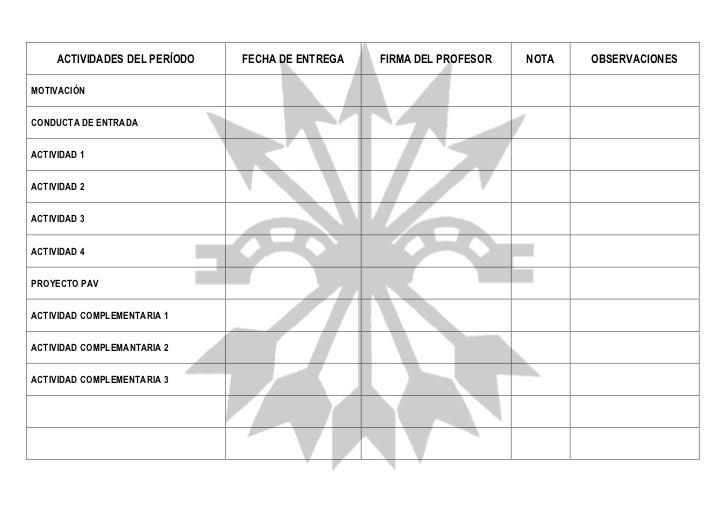 Formato para el control y registro de actividades