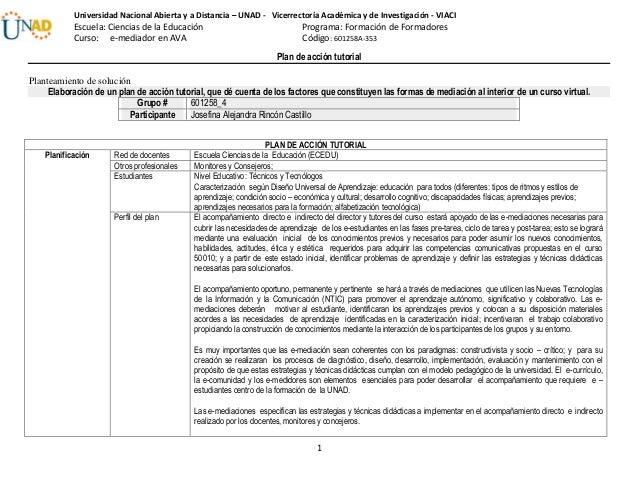 Plan de acción tutorial 1 Universidad Nacional Abierta y a Distancia – UNAD - Vicerrectoría Académica y de Investigación -...