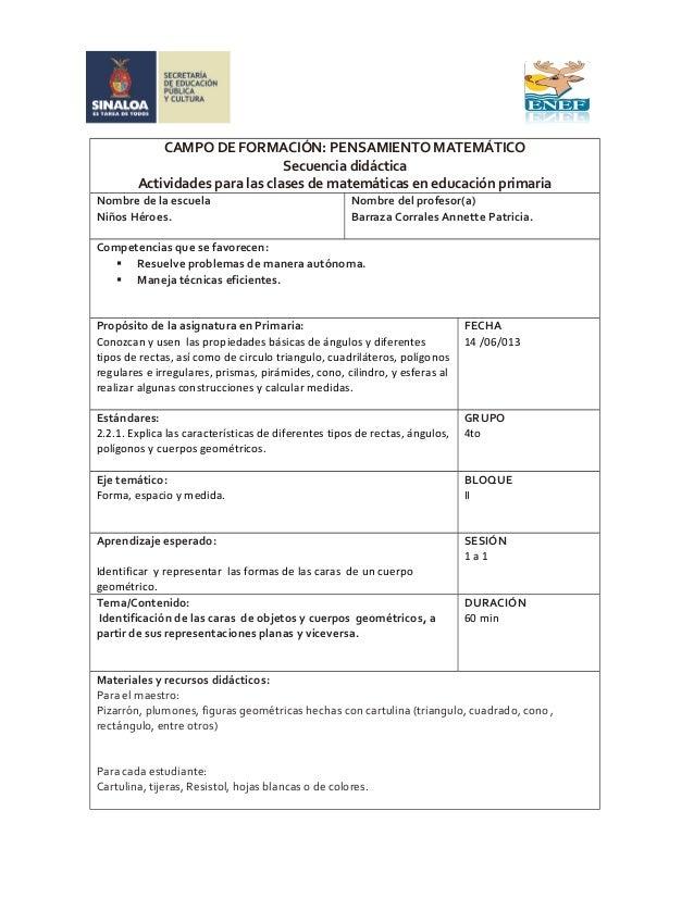 CAMPO DE FORMACIÓN: PENSAMIENTO MATEMÁTICOSecuencia didácticaActividades para las clases de matemáticas en educación prima...