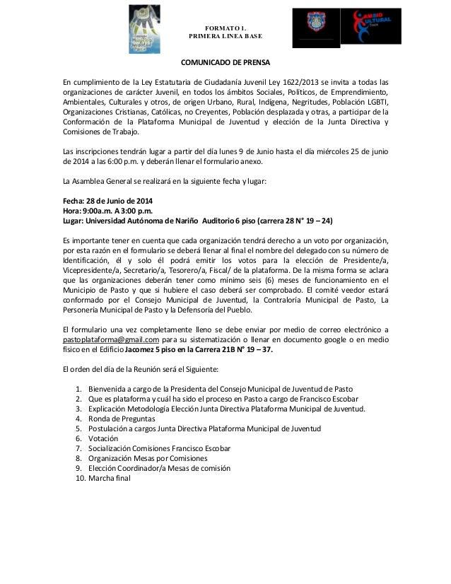 FORMATO 1. PRIMERA LINEA BASE COMUNICADO DE PRENSA En cumplimiento de la Ley Estatutaria de Ciudadanía Juvenil Ley 1622/20...
