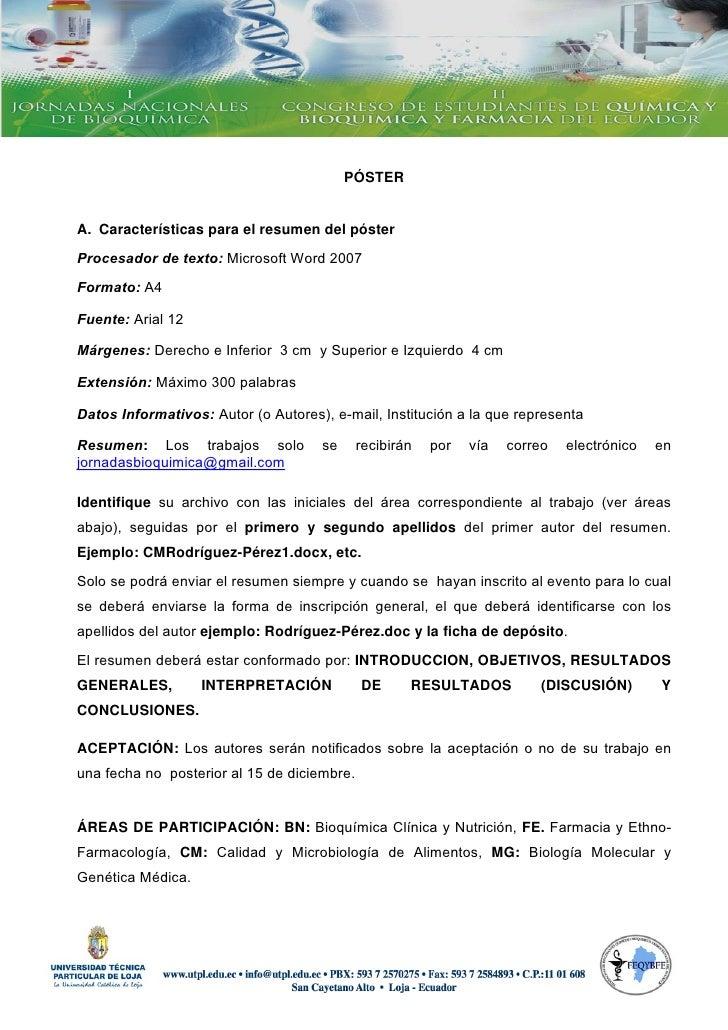 PÓSTER   A. Características para el resumen del póster Procesador de texto...