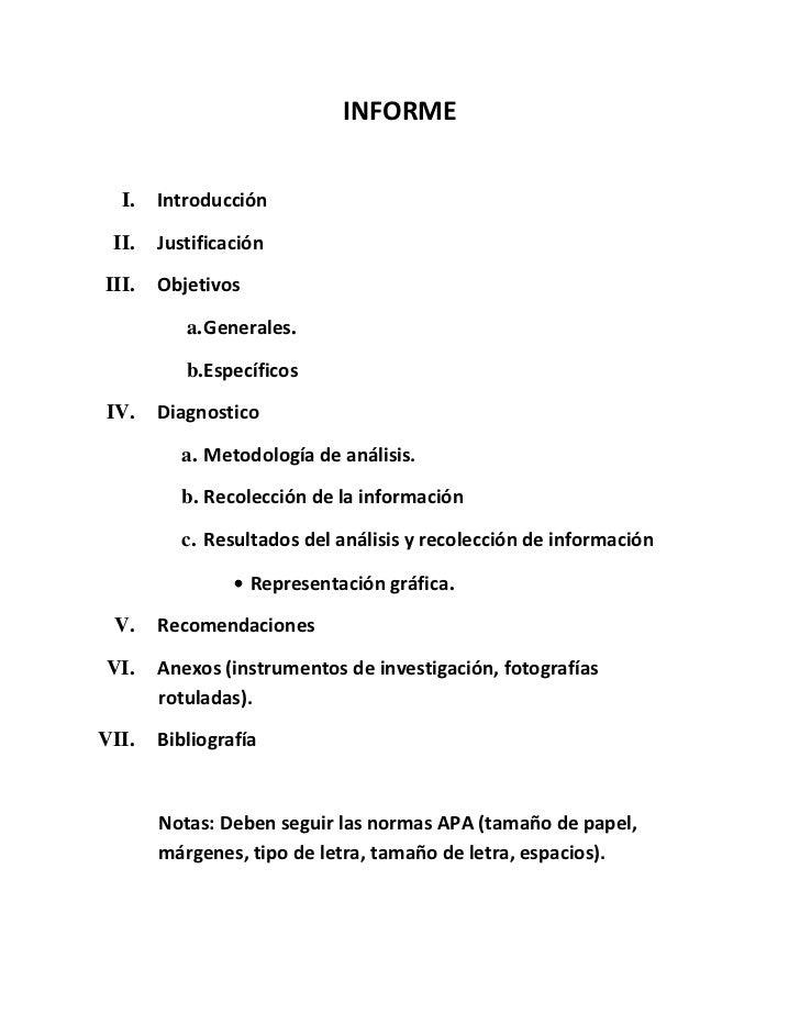 INFORME  I.   Introducción II.   JustificaciónIII.   Objetivos          a. Generales.          b.EspecíficosIV.    Diagnos...
