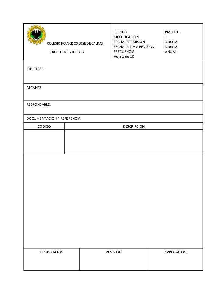 CODIGO                  PMI 001                                                  MODIFICACION            1            COLE...