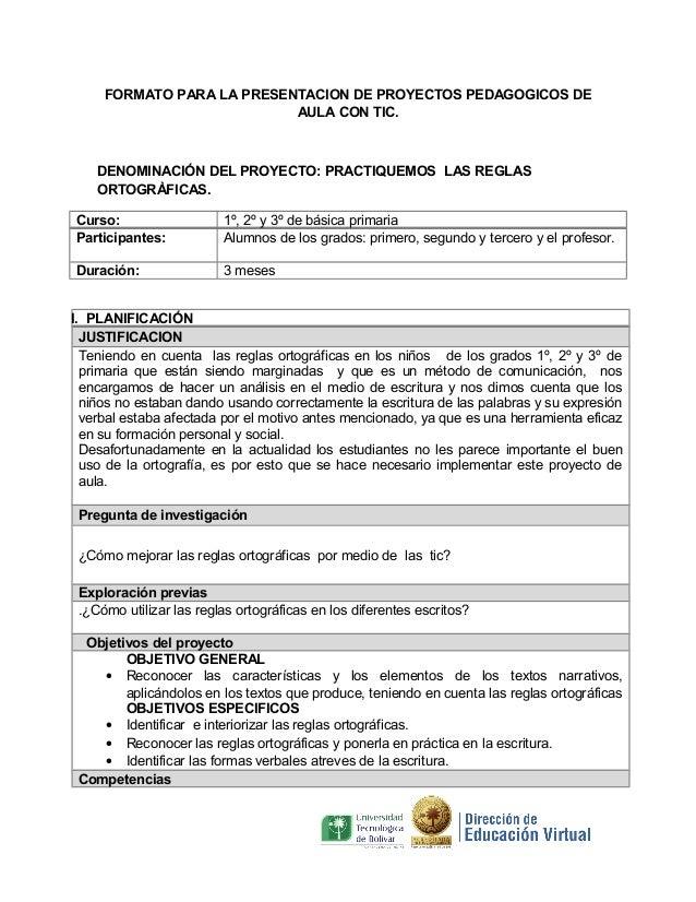 Formato Proyectos De Aula Ortografia Vallecito