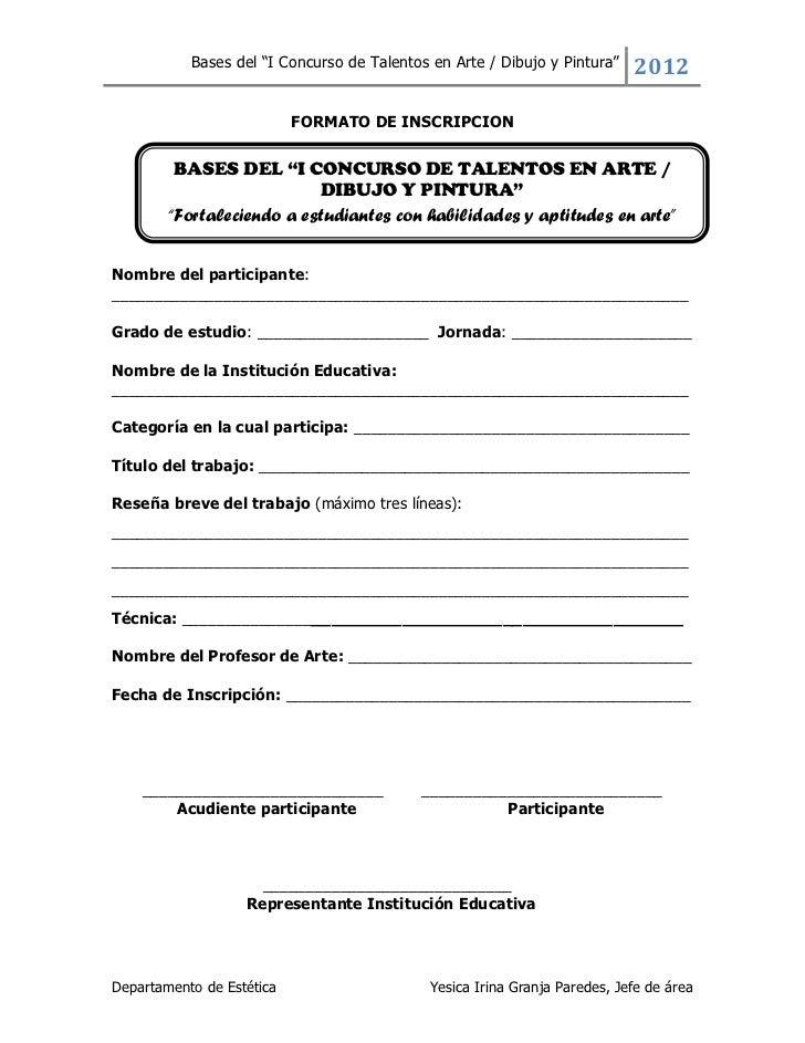 """Bases del """"I Concurso de Talentos en Arte / Dibujo y Pintura""""   2012                           FORMATO DE INSCRIPCION     ..."""