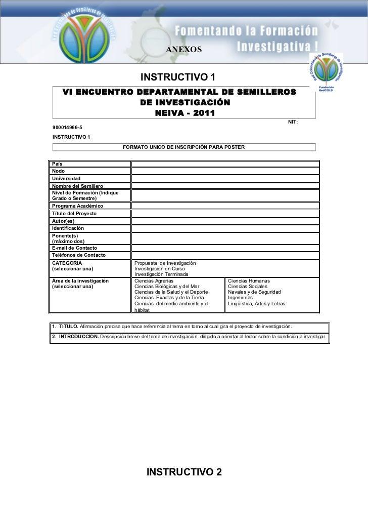 ANEXOS                                        INSTRUCTIVO 1    VI ENCUENTRO DEPARTAMENTAL DE SEMILLEROS                  D...